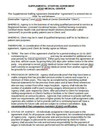medical staffing agency agreement