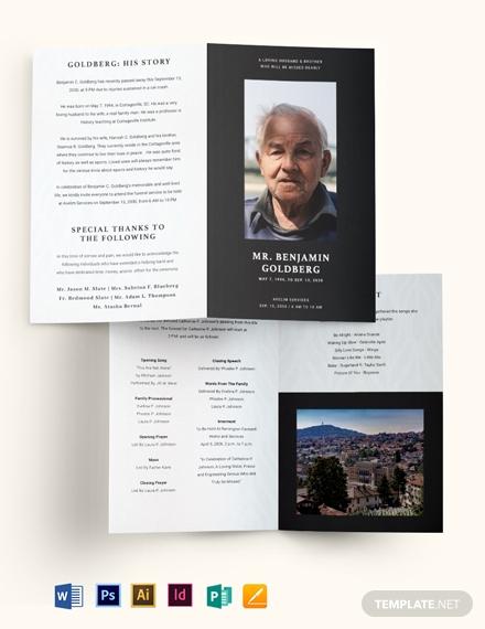 minimalistic eulogy funeral bi fold brochure