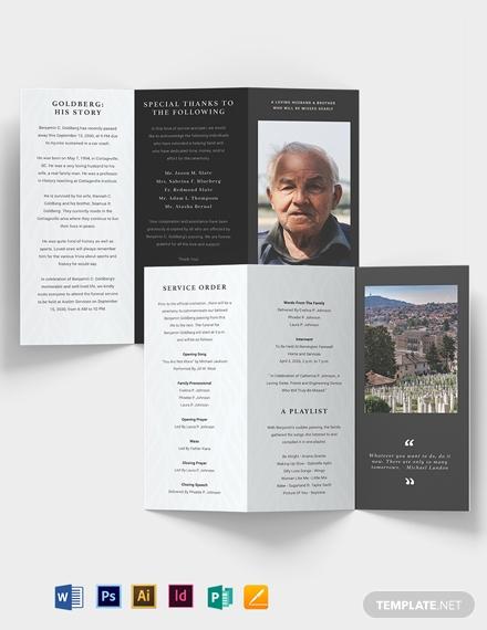 minimalistic eulogy funeral tri fold brochure