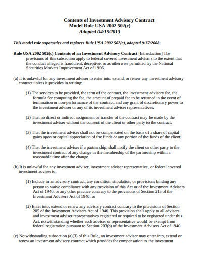 model rule contents of investment advisory contract