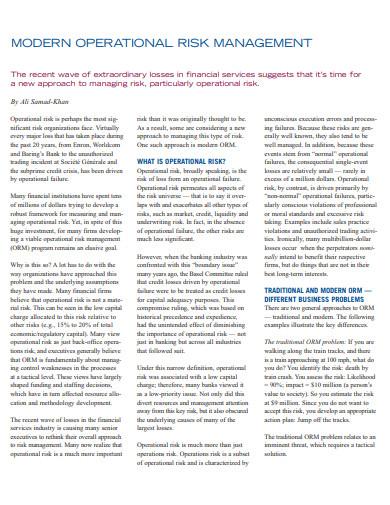 modern risk management in energy industry