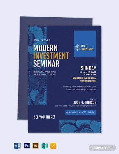 modern investment seminar invitation template