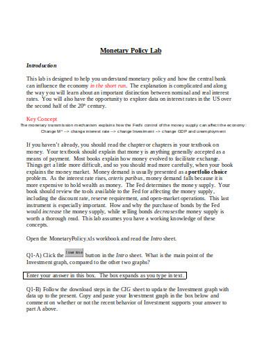 monetary policy example