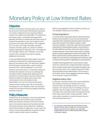 monetary policy interest rates template