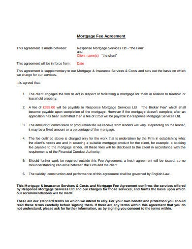 mortgage client fee agreement