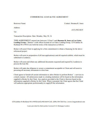 mortgage commercial loan fee agreement
