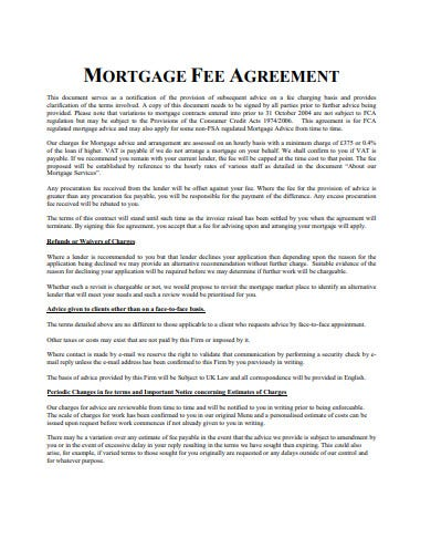 mortgage fee agreement template