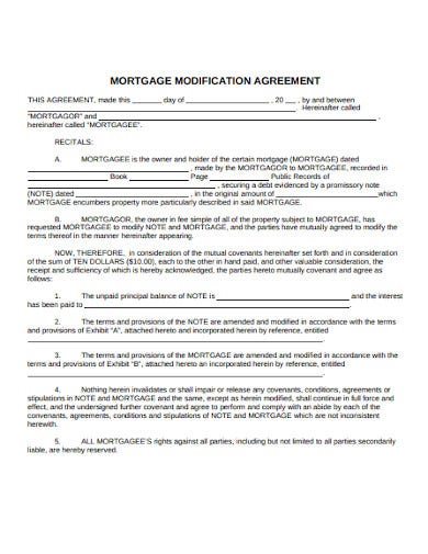 mortgage modification agreement example