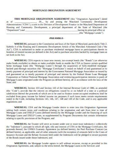 mortgage origination agreement template