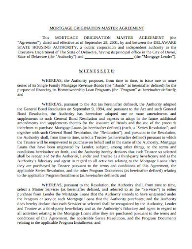 mortgage origination master agreement template