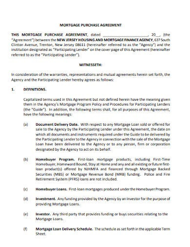 mortgage purchase agreement example