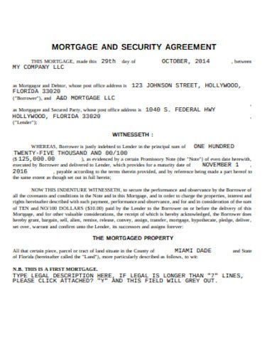 mortgage and security agreement template