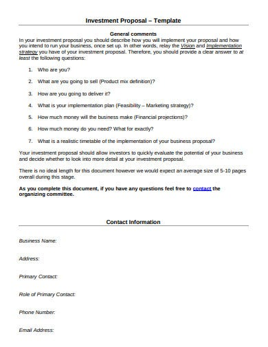 new business investment proposal template