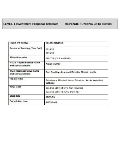 new professional business investment proposal