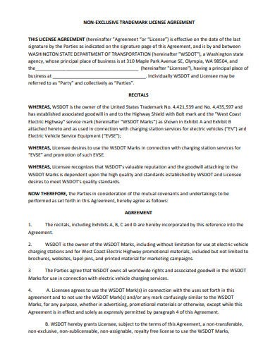 non exclusive agency trademark agreement example
