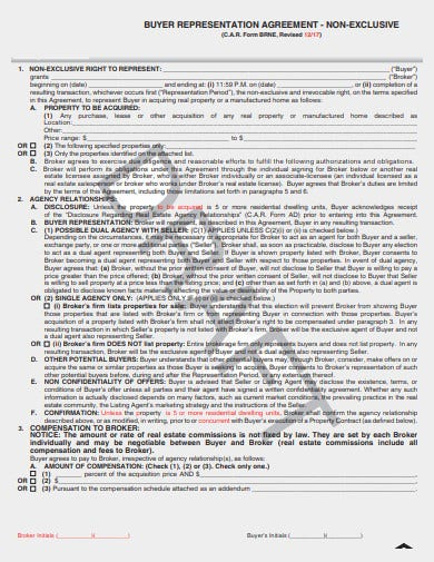non exclusive buyer agency agreement template