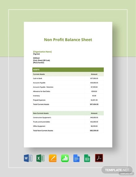 6 Non Profit Sheet Templates Free Samples Examples