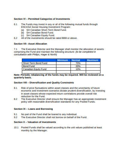non profit housing association investment policy template