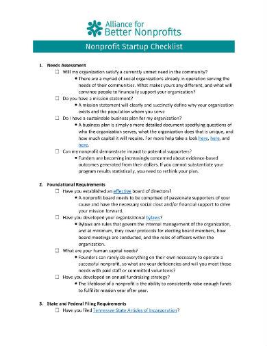 non profit startup checklist