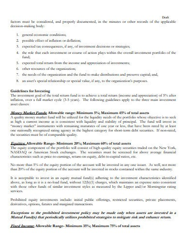 nonprofit investment policy template