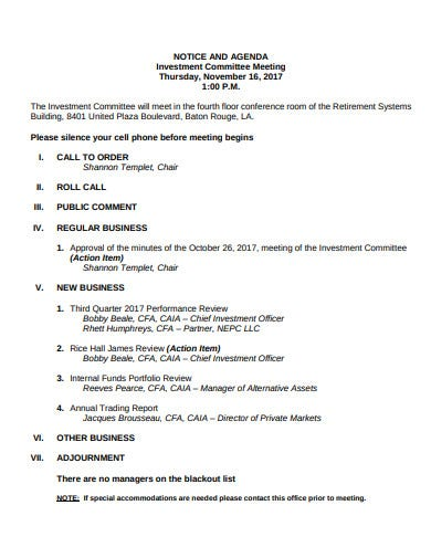 notice and agenda investment committee meeting