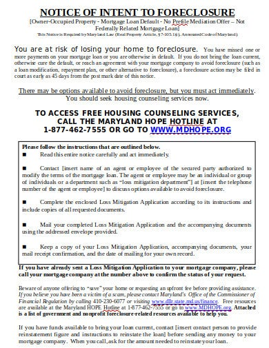 notice of intent to foreclosure