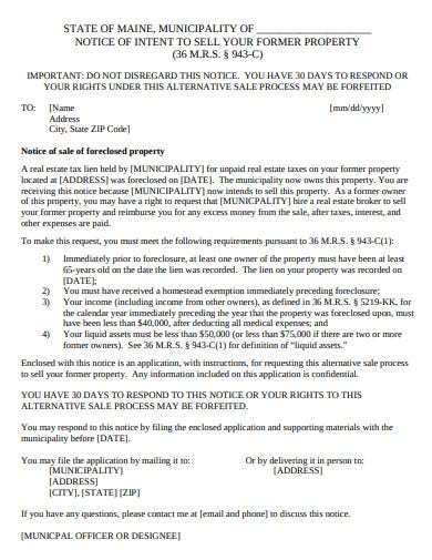 notice of sale of foreclosed property