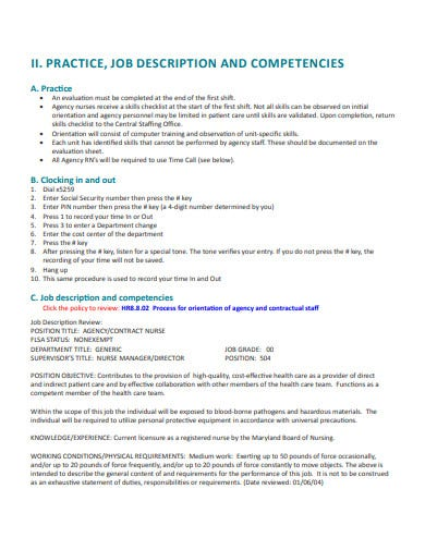 nursing agency contract and orientation