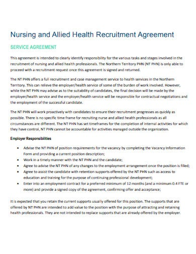 nursing and allied health recruitment agreement