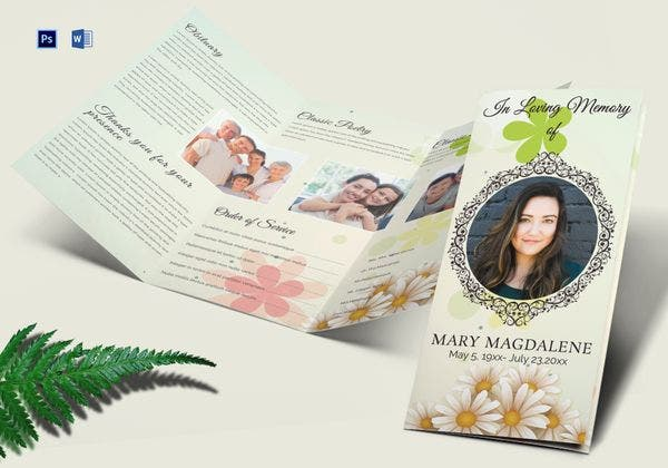 obituary funeral trifold brochure template 600x420