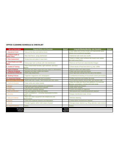 office cleaning checklist and schedule template