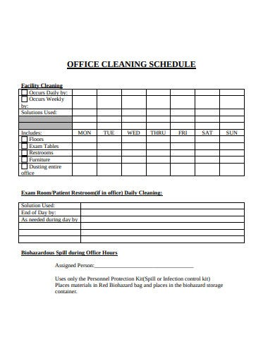 office cleaning schedule template1