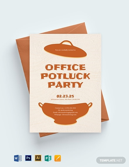 office potluck party invitation template 1