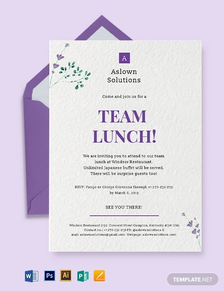 office team lunch invitation template