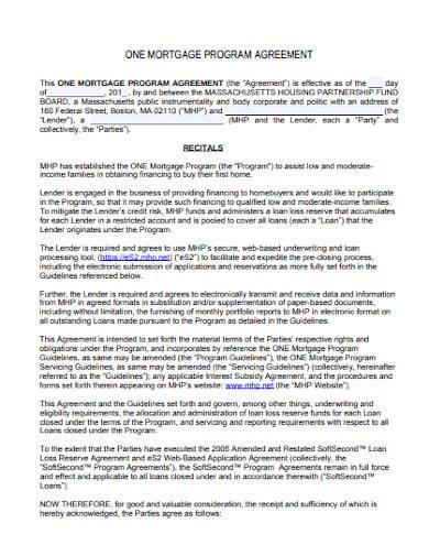 one mortgage program agreement format