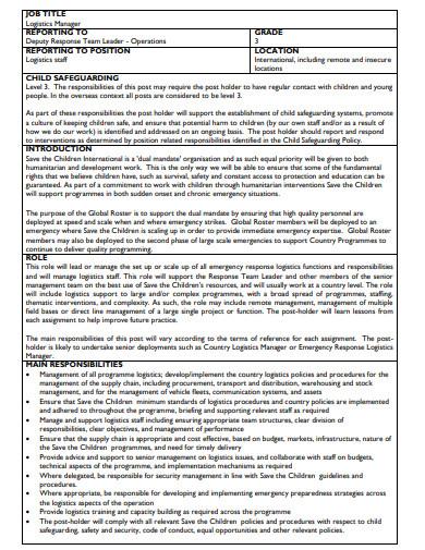 operational logistics manager job description