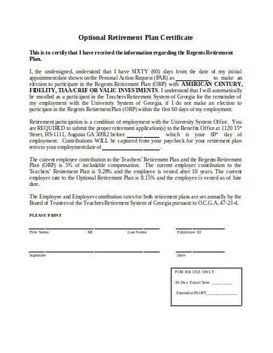 optional retirement plan certificate template