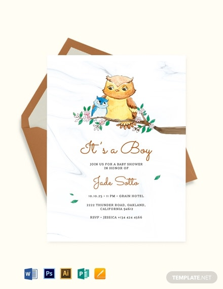 owl baby shower invitation template 1