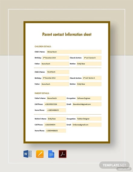 parent contact information sheet template1