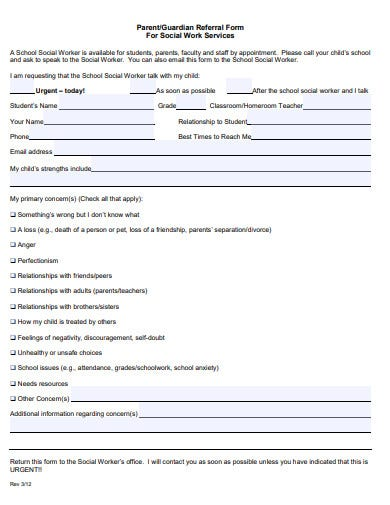 parent social work referral form template