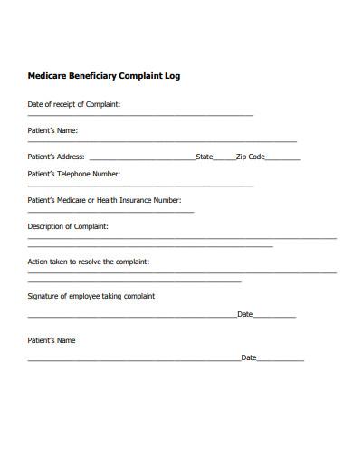 patient complaint log example