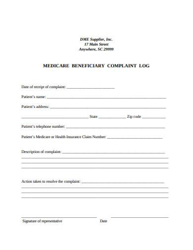 patient complaint log format