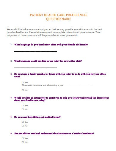 patient health care preferences questionnaire