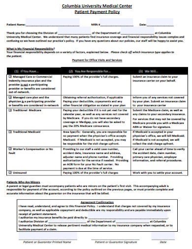 patient payment policy template