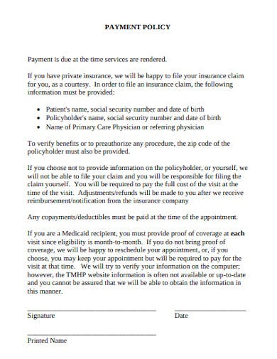 payment policy example