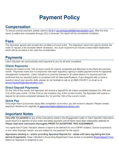 payment policy sample