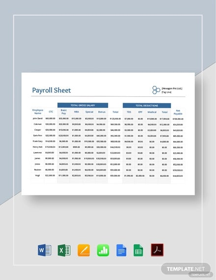 payroll sheet template