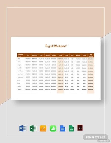 payroll worksheet template