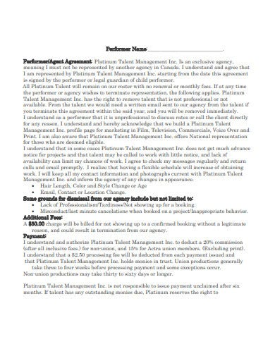 performer talent agency agreement template