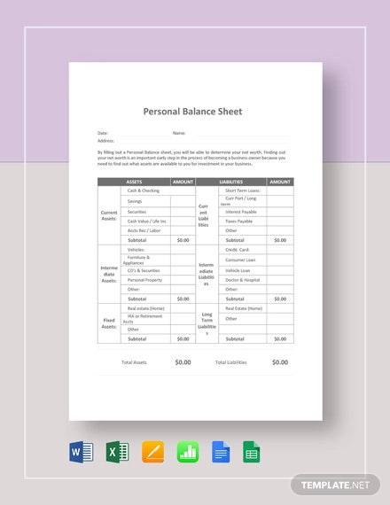 Personal Balance Sheet Template 16 Free Word Excel Pdf Documents Download Free Premium Templates